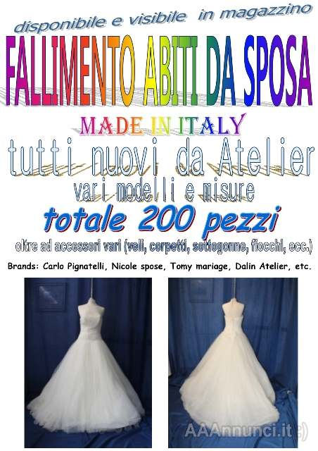 Abito Da Sposa 350 Euro.Fallimentare Abiti Da Sposa 200pz Terni Umbria