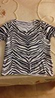 Maglietta donna in viscosa, taglia L, colore bianco e blu