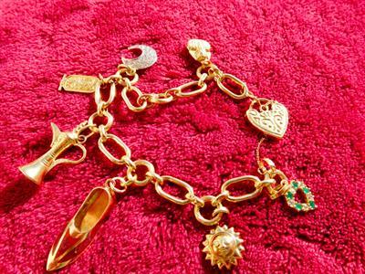 Braccialetto a catena in oro 18K con charms arabi